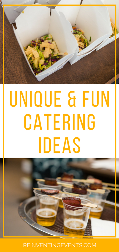 http://reinventingevents.com/2015/03/event-catering-ideas/ Food being served at an event is extremely important. Reinventing Events takes a new approach to event catering with some creative options!