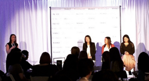 YMDC Women's Tech Breakfast moderator Jarah Euston and panelists Cynthia Maxwell, Maria Zhang, and Annie Cheng. Photo by @rascada