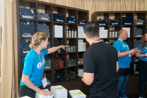 A full variety of branded items were available