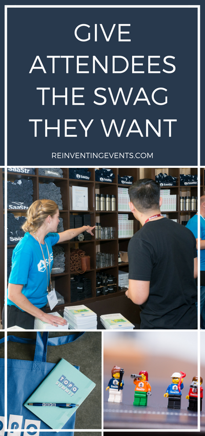 http://reinventingevents.com/2016/09/attendee-swag/  Don't waste a swag opportunity! Gift something to your attendees that will be memorable and used after the event. Read more tips and tricks!