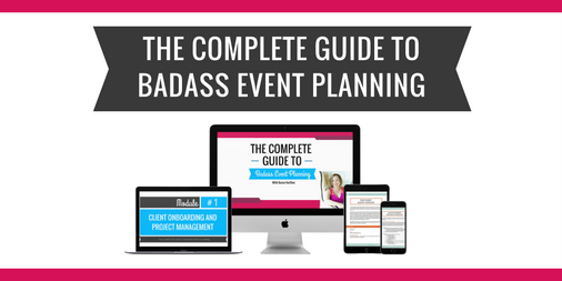 badasseventplanning.com This guide is an easy-to-follow system that is profitable, repeatable, and scaleable. It has 60+ Checklists and Templates and is chock full of #BadassProTips. Get ready to take the stress out of event planning!